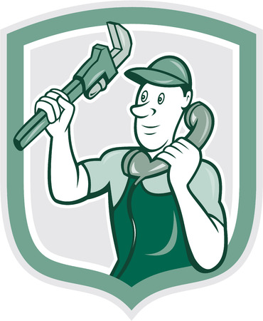 monkey wrench: Illustration of a plumber holding monkey wrench and telephone talking set inside shield crest done in cartoon style on isolated background.