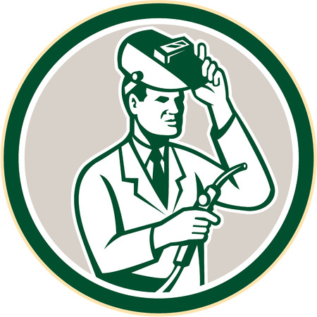 visor: Illustration of scientist laboratory researcher chemist welder holding welding torch with helmet visor set inside circle on isolated background done in retro style.