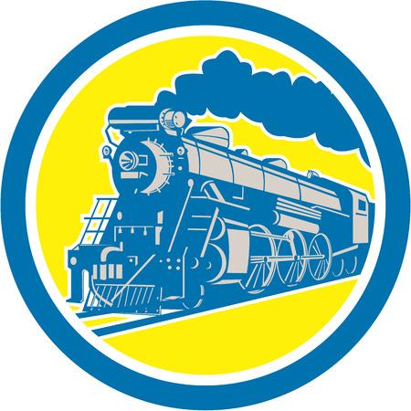 locomotora: Ilustración de una locomotora de tren de vapor viajando establece dentro del círculo en el fondo aislado hecho en estilo retro.