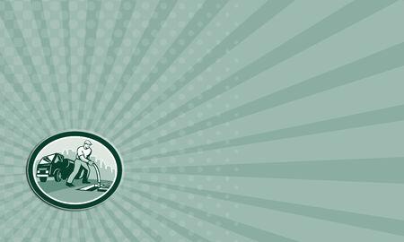 Adreskaartje die illustratie van een drainage afvoer chirurg ontstopper werknemer deblokkeren slang in mangat met drainage vrachtwagen hydro-eenheid in de achtergrond set binnen ovaal gedaan in retro stijl.