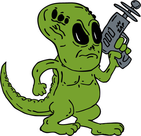 ray gun: Illustration of a green Alien looking dinosaur holding a ray gun on isolated background done in cartoon style. Illustration