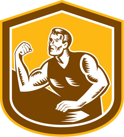 flexing: Illustration of an arm wrestling champion flexing muscles viewed from front set inside shield