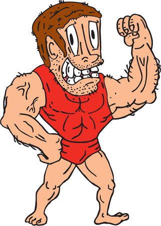flexing: Illustration of a bodybuilder flexing muscles viewed from front  on isolated background done in cartoon style.