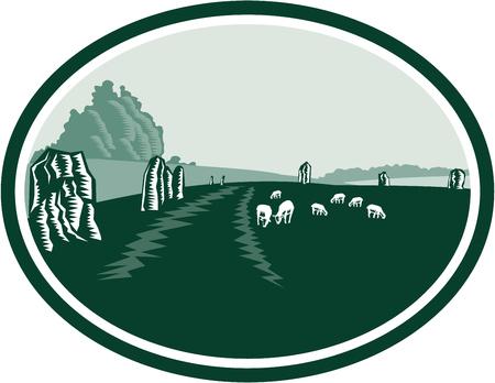 Illustration of the Avebury neolithic henge monument containing three stone circles around the village