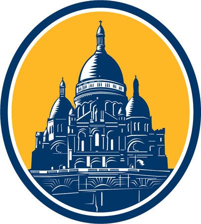sacre coeur: Illustration de la coupole de la basilique du Sacré-C?ur de Paris, communément appelé la basilique du Sacré Coeur placé à l'intérieur ovale fait dans le style de gravure sur bois rétro. Illustration