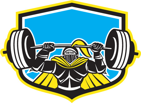 Illustration of black knight in full armor lifting a barbell set inside shield viewed from front done in retro style on isolated white background.