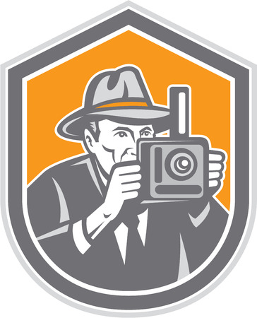 fedora: Illustration of a photographer wearing fedora hat shooting with vintage bellows camera set inside shield crest