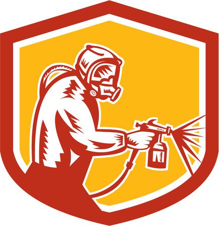 paint spray gun: Illustration of car spray painter holding paint spray gun spraying set inside shield crest on isolated background done in retro style. Illustration