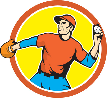 outfielder: Illustration of an american baseball player pitcher outfilelder throwing ball set inside circle on isolated background done in cartoon style.