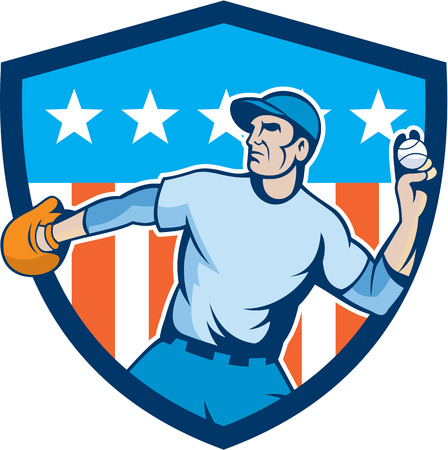 baseball pitcher: Illustration of an american baseball player pitcher outfilelder throwing ball set inside shield crest with american stars and stripes in the background done in cartoon style.