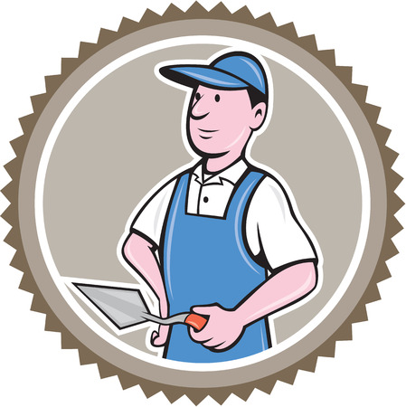 plasterer: Illustration of a bricklayer mason plasterer worker standing holding a trowel set inside rosette on isolated background done in cartoon  style. Illustration