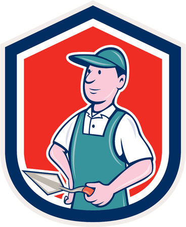 plasterer: Illustration of a bricklayer mason plasterer worker standing holding a trowel set inside shield crest on isolated background done in cartoon  style.