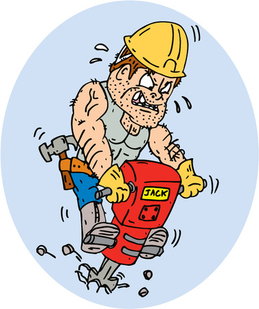 Illustration of a construction worker with jack hammer pneumatic drill drilling excavation work on isolated white background done in cartoon style.