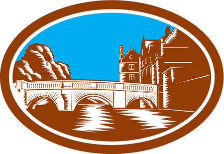 afar: Illustration of the Trinity College Bridge in Cambridge, England spanning the River Cam viewed from afar set inside oval done in retro woodcut style.