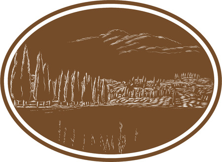 tuscan: Illustration of Tuscan landscape in Tuscany, Italy showing tree and with surrounding houses and landscape set inside oval done in retro woodcut style.