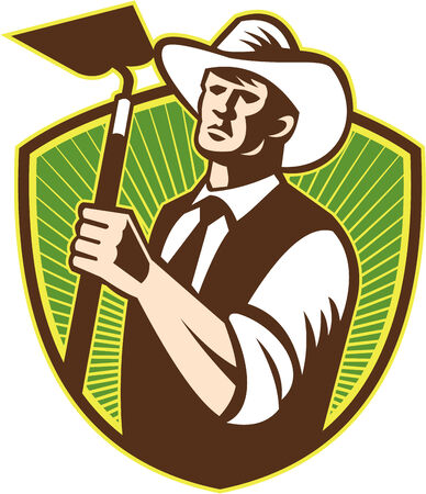 hoe: Illustration of organic farmer holding a grab hoe facing front set inside shield with sunburst in the background done in retro style.
