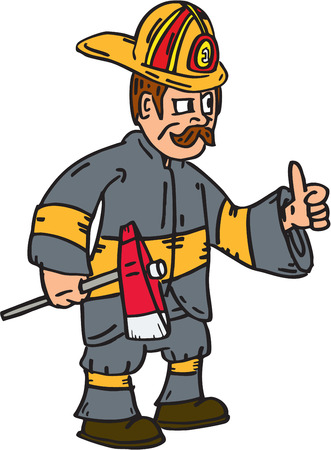 brandweer cartoon: Illustration of a fireman fire fighter emergency worker thumbs up holding axe facing to the side set on isolated white background done in cartoon style.