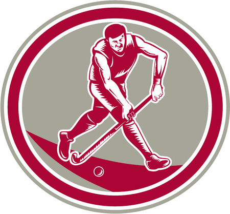 striking: Illustration of a field hockey player running with stick striking ball set inside oval shape done in retro woodcut style on isolated background.