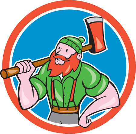 sawyer: Illustration of a Paul Bunyan an American lumberjack sawyer forest holding an axe on shoulder looking up to side set inside circle shape done in cartoon style.