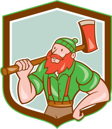 sawyer: Illustration of a Paul Bunyan an American lumberjack sawyer forest holding an axe on shoulder looking up to side set inside shield crest shape done in cartoon style. Illustration