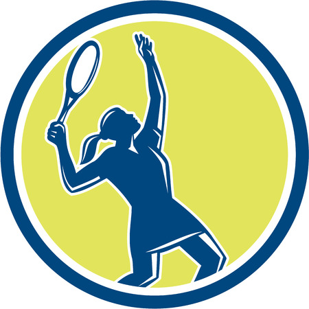 racquet: Illustration of a female tennis player holding racquet serving set inside circle shape on isolated background done in retro style.