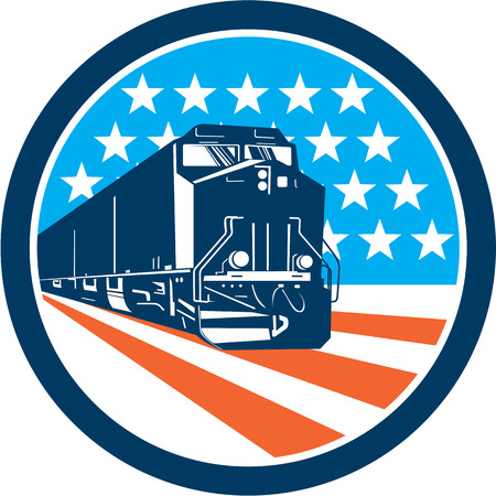 Illustration of a diesel train viewed from front set inside circle with american stars and stripes in the background done in retro style.
