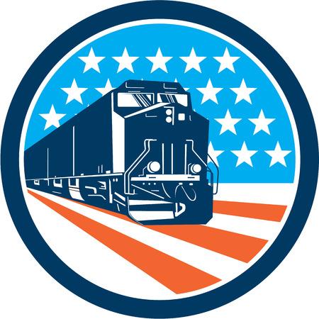 locomotora: Ilustración de un tren diesel visto desde delante conjunto dentro de círculo con barras y estrellas estadounidenses en el fondo hecho en estilo retro.