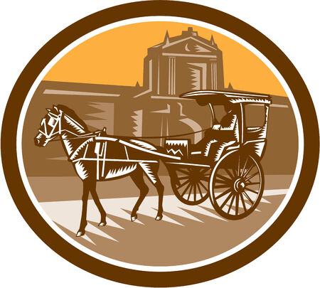 horse drawn: Illustration of a horse-drawn carriage or calash in frontr of the walled city in Intramuros,Manila, Philippines set inside oval done in retro woodcut style.