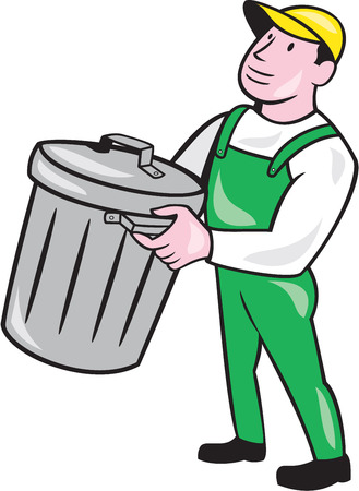 Illustration of a garbage collector carrying garbage waste rubbish bin looking to the side on isolated white background done in cartoon style. Illustration