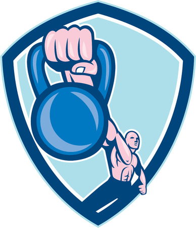 Illustration of a weightlifter lifting kettlebell with one hand set inside shield crest on isolated background done in cartoon style. Vector