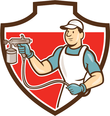 paint spray gun: Illustration of painter holding paint spray gun spraying looking to the side set inside shield crest done in cartoon style.