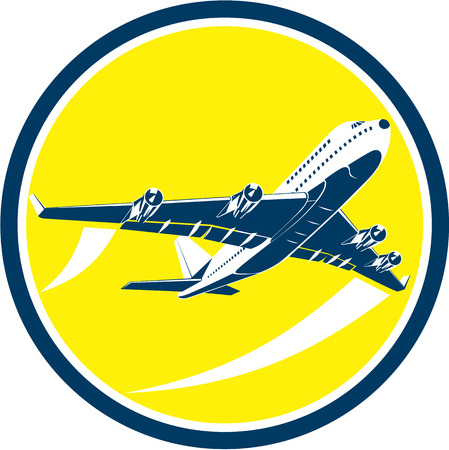 Illustratie van een commercieel straalvliegtuig vliegtuig opstijgen vliegen vanuit hoge hoek set binnen cirkel op geïsoleerde achtergrond gedaan in retro stijl.