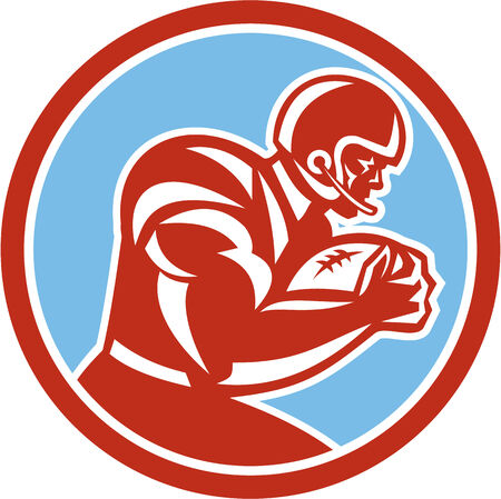 Illustration of an american football gridiron player holding ball running rushing viewed from the side set inside circle on isolated background done in retro style.  Illustration