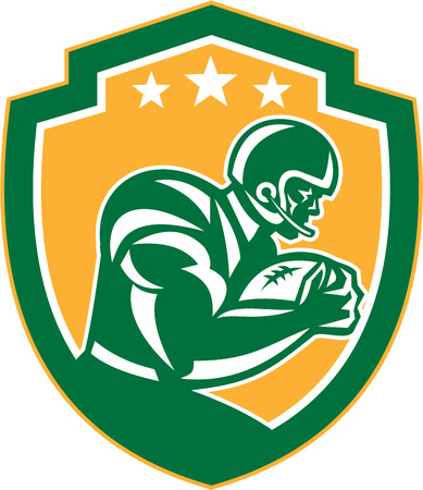 Illustration of an american football gridiron player holding ball running rushing viewed from the side set inside shield crest with stars done in retro style.  Illustration