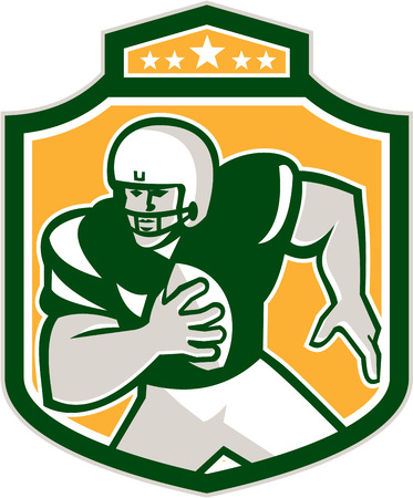 Illustration of an american football gridiron quarterback qb player holding ball running viewed from the front set inside shield crest with stars done in retro style.  Illustration