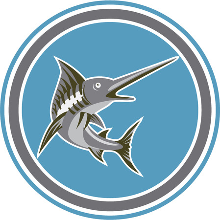 billfish: Illustration of a blue marlin fish jumping set inside circle shape on isolated background done art deco retro style.
