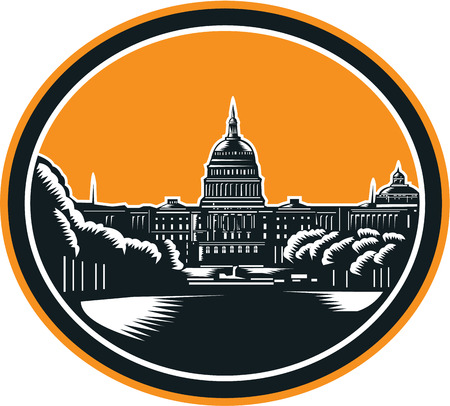 capitol hill: Illustration of the United States Capitol building, atop Capitol Hill in Washington, DC, the seat of the United States Congress done in retro woodcut style set inside circle.