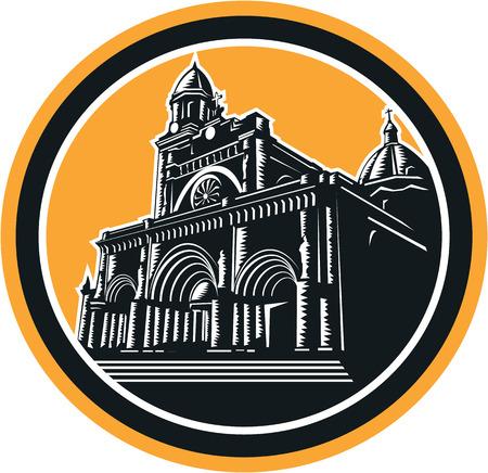 manila: Illustrazione della Cattedrale di Manila conosciuto anche come The Metropolitan Cathedral Manila Intramuros, Manila, Filippine insieme all'interno ovale fatto in stile retr� xilografia.