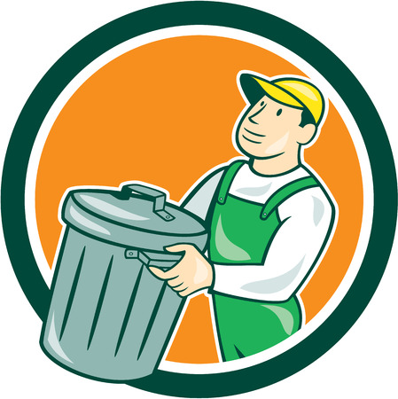 rubbish bin: Illustration of a garbage collector carrying garbage waste rubbish bin set inside circle shape on isolated background done in cartoon style.