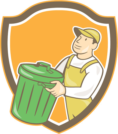 rubbish bin: Illustration of a garbage collector carrying garbage waste rubbish bin looking to the side set inside shield crest shape on isolated background done in cartoon style. Illustration