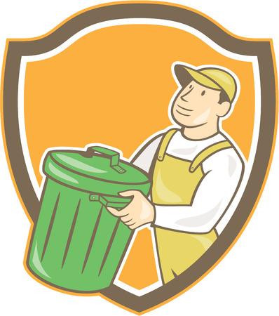 recolector de basura: Ilustración de un recolector de basura llevando cubo de basura de residuos de basura en busca de la triscada forma interior cresta escudo sobre fondo aislado hecho en estilo de dibujos animados.