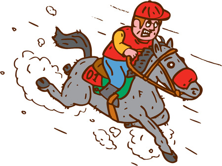 thoroughbred: Illustration of horse and jockey racing set on isolated white background done in cartoon style.  Illustration