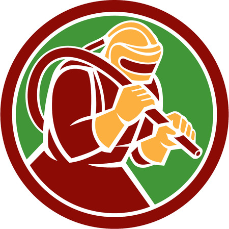 sandblasting: Illustration of a sandblaster worker holding sandblasting hose wearing helmet visor set inside circle on isolated background done in retro style.