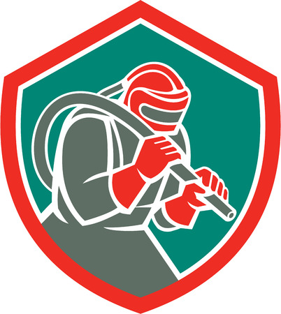 Illustration of a sandblaster worker holding sandblasting hose wearing helmet visor set inside shield crest on isolated background done in retro style.