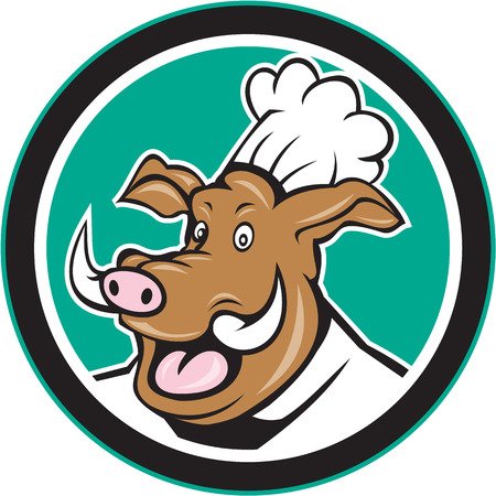 boar: Illustration of a wild pig boar chef cook head set inside circle on isolated background done in cartoon style.
