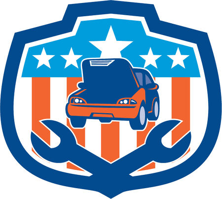 bonnet illustration: Illustration of a car being repaired with hood bonnet open and spanner set inside shield crest with american stars and stripes in the background done in retro style.
