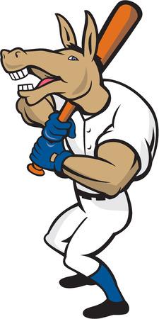 batting: Illustration of a donkey baseball player holding bat on shoulder batting set on isolated white background done in cartoon style.