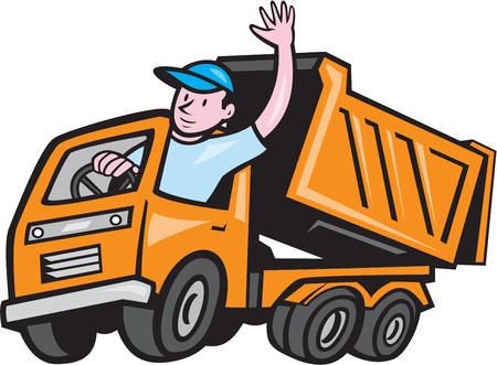 Ilustración de un camión de volteo con chofer Hola que agita en el fondo blanco aislado hecho en estilo de dibujos animados. Vectores