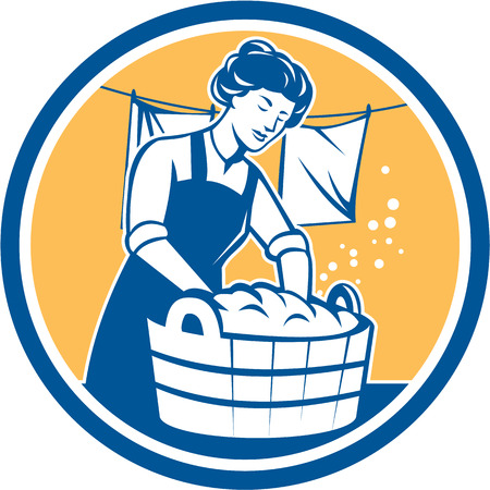 laundering: Illustration of a housewife washing laundry using wooden bucket with clothes hanging in line set inside circle done in retro style.