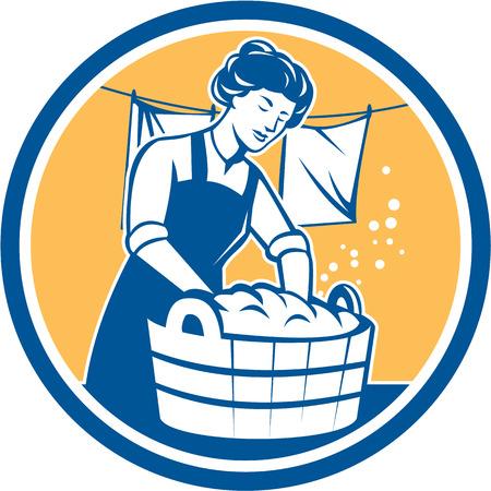 laundry line: Ilustraci�n de un ama de casa lavar la ropa utilizando el cubo de madera con ropa tendida en l�nea fij� el c�rculo interior hecho en estilo retro.